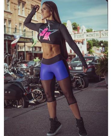 legging superhot move blue. un capri con inserti in tulle elastico. fantaleggins.com