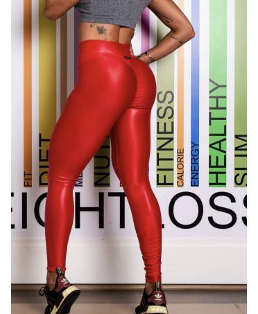 LEGGINGS SHINY RED PUSH-UP...