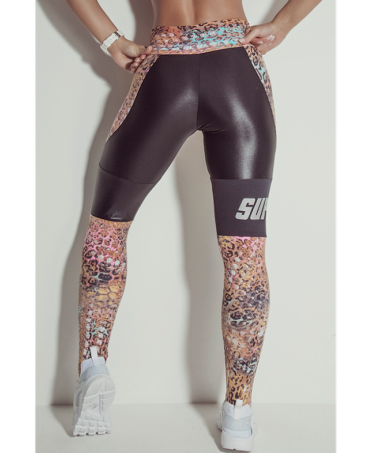 leggings, print, feline; with inserts, leather-effect black. superhot, babalu', canoan,labellamafia, bodyfit