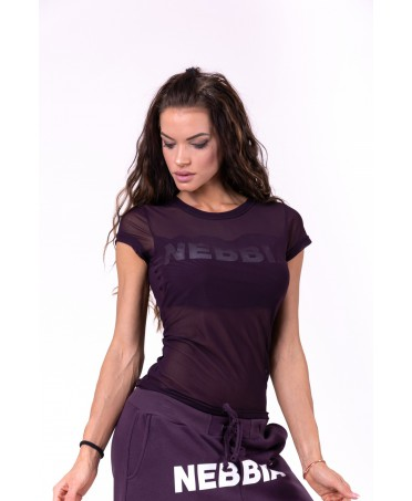 T-SHIRT IN TULLE VIOLA NEBBIA
